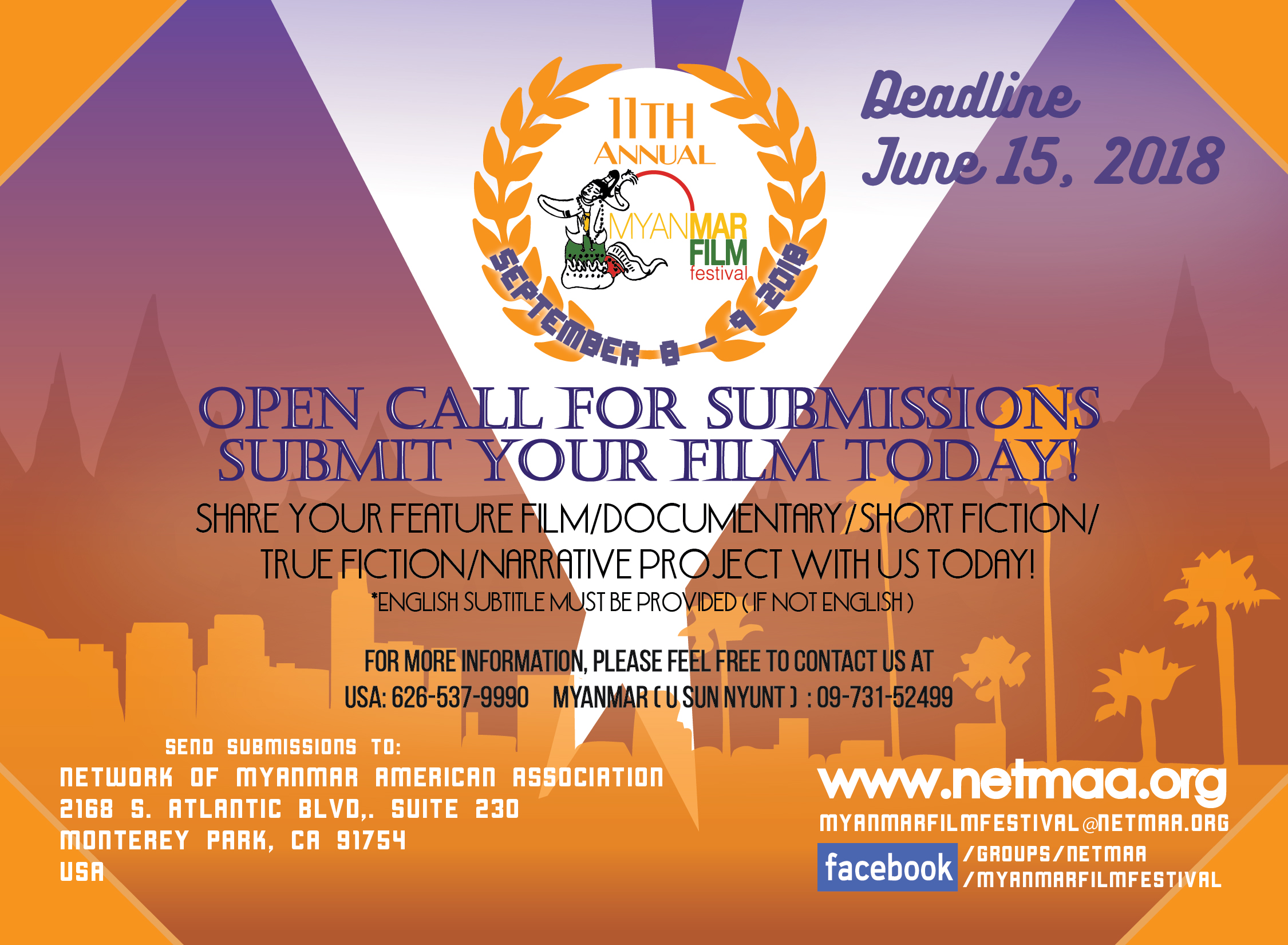 Open Call for Submissions: 2018 Myanmar Film Festival of Los Angeles